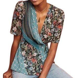 Anthro Tiny Sheer Lovely Patchwork Floral Wrap Top